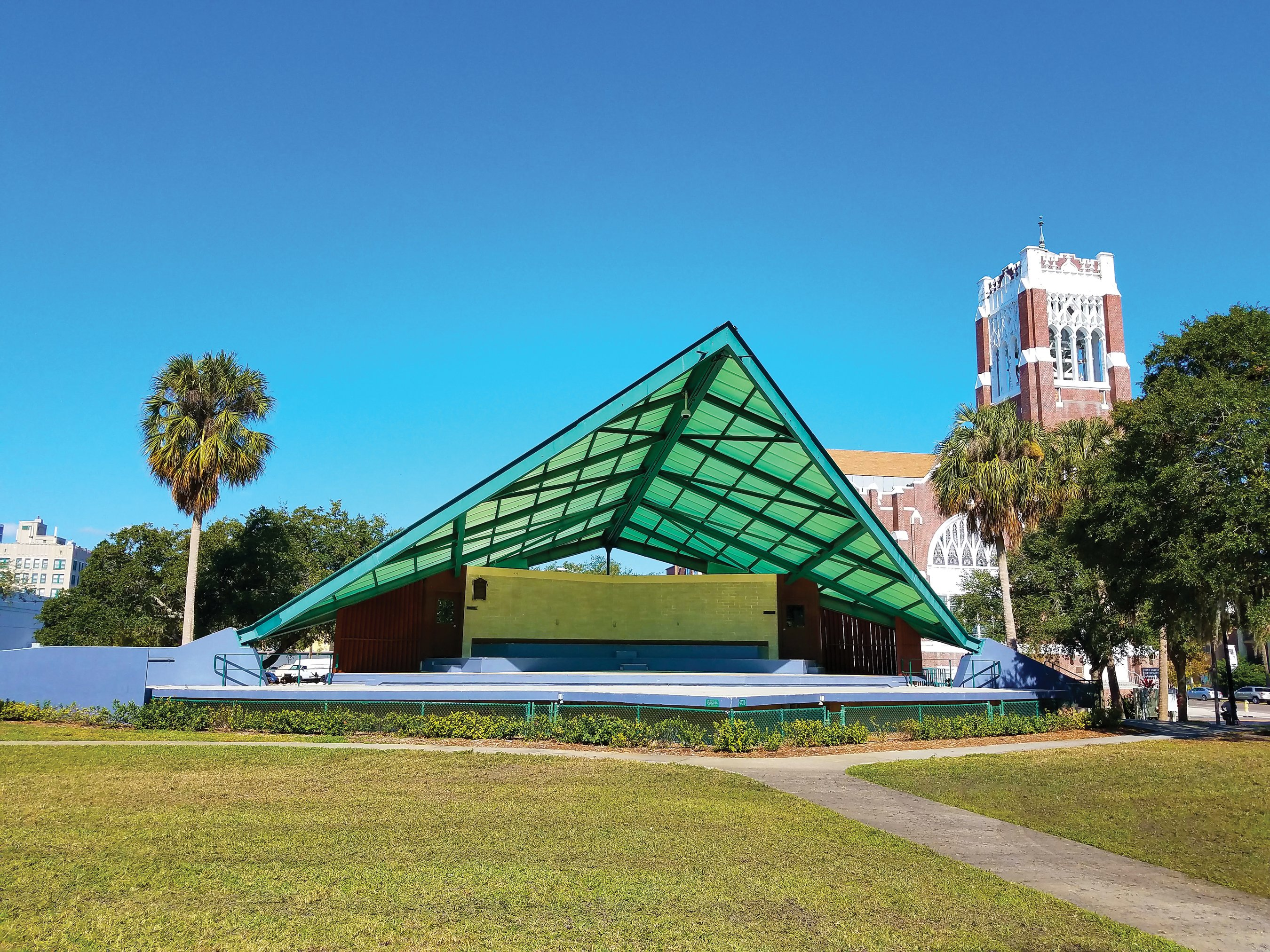 In 1954, modernist architect William Harvard won the American Institute of Architecture's Award of Excellence for his design of the Williams Park band shell