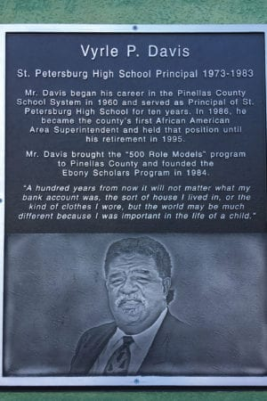 In 2013, St. Petersburg High School dedicated the Media Building to Mr. Davis and hung this commemorative plaque in his honor.
