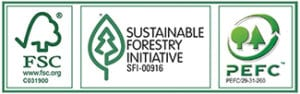FSC, Sustainable Forestry Initiative, and PEFC certified.