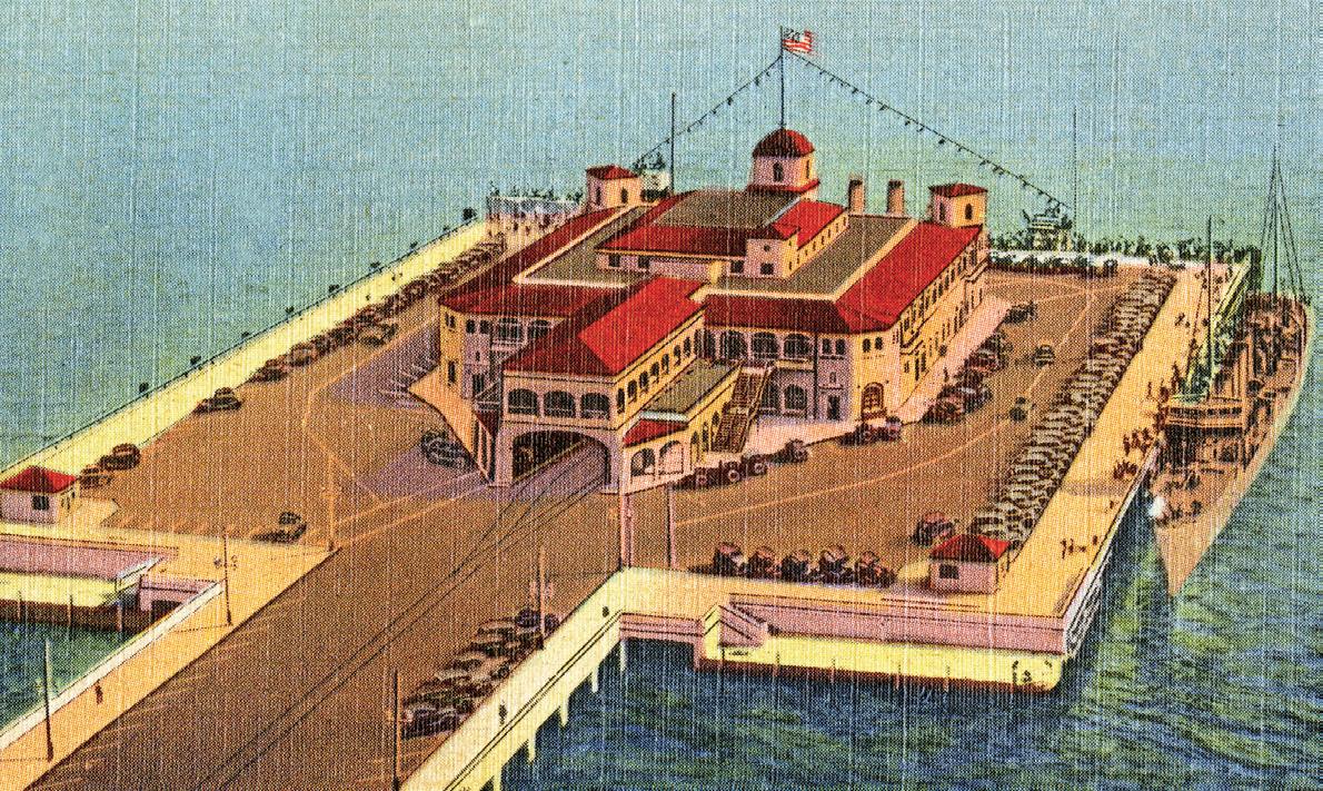 Aerial view of million dollar recreation pier - Saint Petersburg, Florida. 19--. Color postcard, 9 x 14 cm. State Archives of Florida, Florida Memory.