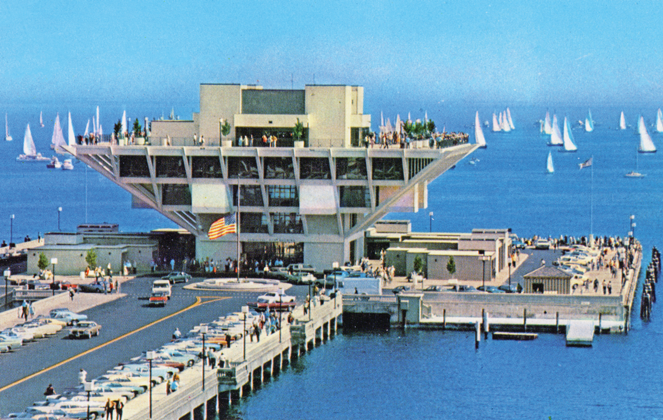 Aerial view of The Pier - St. Petersburg, Florida. Not before 1973. Color postcard, 9 x 14 cm. State Archives of Florida, Florida Memory.