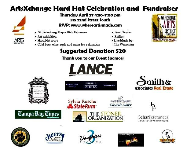 Warehouse Arts District ArtsXchange Hard Hat Event Flyer