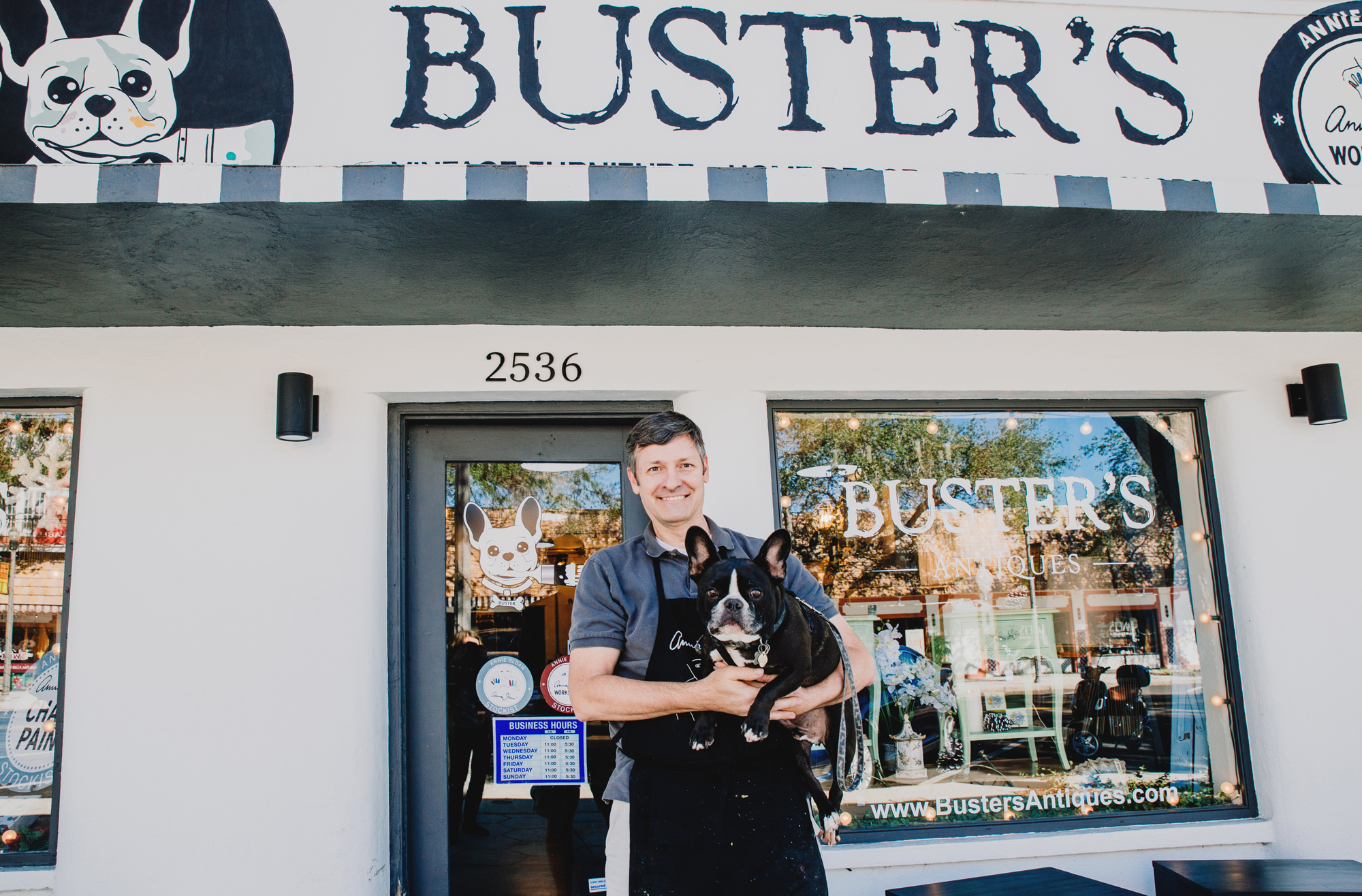 Owner Keith Gilbert with his loyal friend/brand ambassador, Buster (Buster's Antiques. By Kelly Nash Photography.)